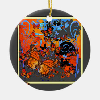 Monarch Butterflies Stormy Weather Art Ceramic Ornament