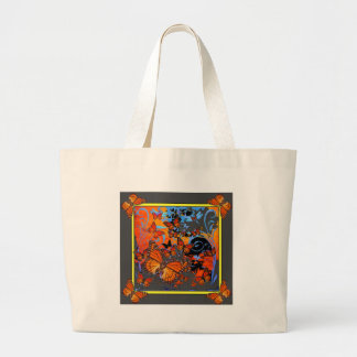 Monarch Butterflies Stormy Weather Art Large Tote Bag