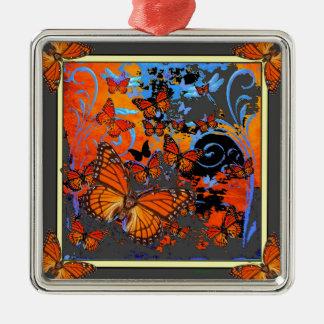 Monarch Butterflies Stormy Weather Art Metal Ornament