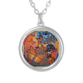 Monarch Butterflies Stormy Weather Art Silver Plated Necklace