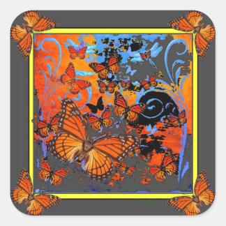 Monarch Butterflies Stormy Weather Art Square Sticker