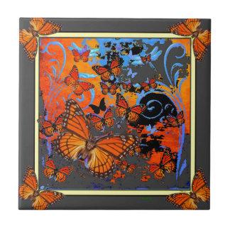 Monarch Butterflies Stormy Weather Art Tile