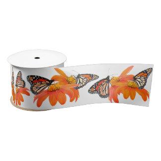 Monarch Butterflies Sunflower Floral Flower Garden Satin Ribbon