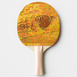 monarch butterfly and bicycle ping pong paddle