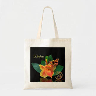 Monarch Butterfly and Canna Lily Tote