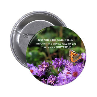 Monarch butterfly and purple flowers 2 inch round button