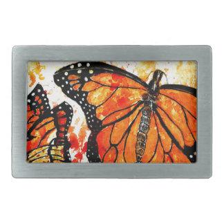 Monarch Butterfly Art02 Rectangular Belt Buckles