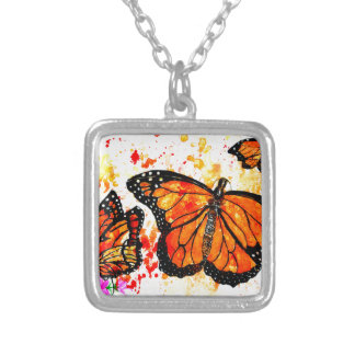 Monarch Butterfly Art02 Silver Plated Necklace