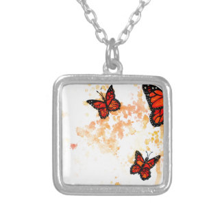 Monarch Butterfly Art Silver Plated Necklace