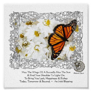 Monarch Butterfly & Daisies Poster