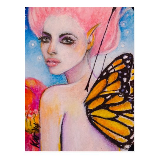 Monarch Butterfly Fairy with Pink Haiir Postcard