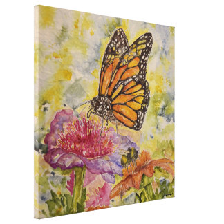 Monarch Butterfly Floral Watercolor Canvas Print