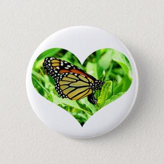 Monarch Butterfly Heart Button