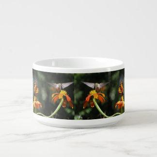 Monarch Butterfly Hummingbird Birds Flowers Floral Bowl