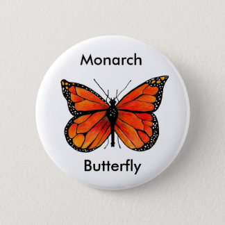 Monarch Butterfly Illustration on Button