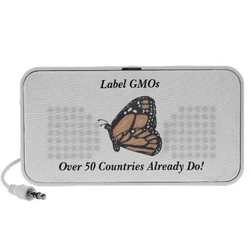 """Monarch Butterfly """"Label GMOs"""" Travel Speakers"""