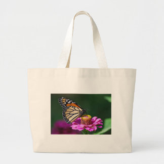 Monarch Butterfly on a Pink Flower Large Tote Bag