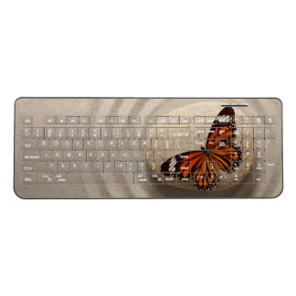Monarch Butterfly on a Stone in a Zen Garden Wireless Keyboard