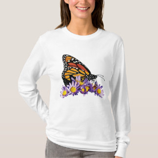 Monarch Butterfly on Asters Ladies T-Shirt