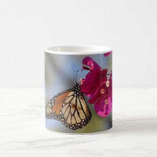 Monarch butterfly on bougainvillea coffee mug