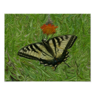 Monarch Butterfly on flower life painting style Poster