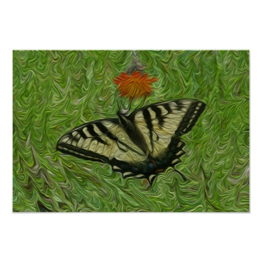 Monarch Butterfly on flower life painting style Posters