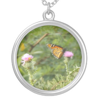 Monarch Butterfly on flowers Silver Plated Necklace
