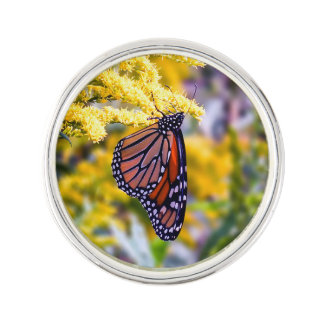 Monarch Butterfly on Goldenrod Lapel Pin