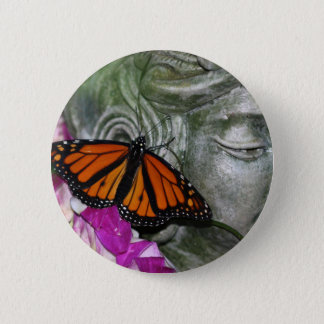 Monarch Butterfly on Kwan Yin 2 Inch Round Button