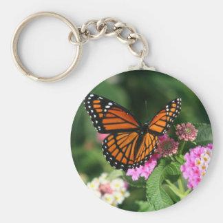 Monarch Butterfly on Lantana Flower Keychain