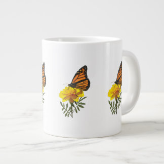 Monarch Butterfly on Marigold Large Coffee Mug
