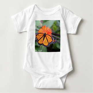 Monarch butterfly on orange flower baby bodysuit