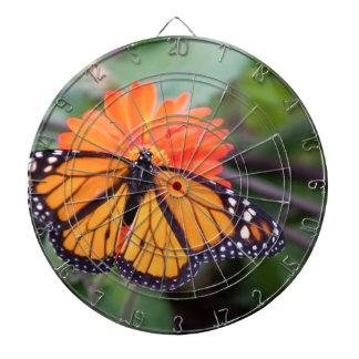 Monarch butterfly on orange flower dartboard