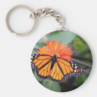 Monarch butterfly on orange flower keychain