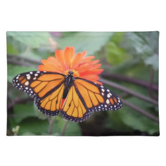 Monarch butterfly on orange flower placemat