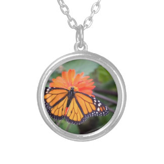 Monarch butterfly on orange flower silver plated necklace