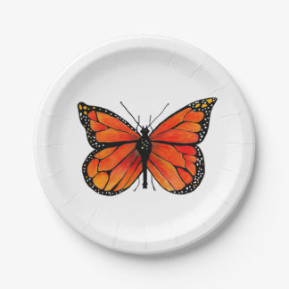 Monarch Butterfly on Paper Plates 7 Inch Paper Plate