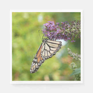 Monarch Butterfly on Purple Butterfly Bush Paper Napkins