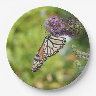 Monarch Butterfly on Purple Butterfly Bush Paper Plate