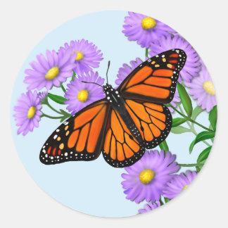Monarch Butterfly on Wild Asters Sticker