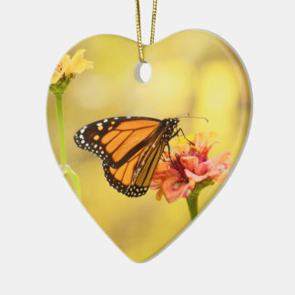 Monarch Butterfly on Zinnia Ceramic Heart Ornament