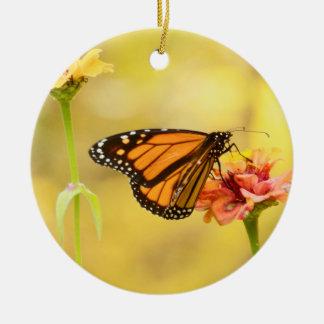 Monarch Butterfly on Zinnia Ceramic Ornament