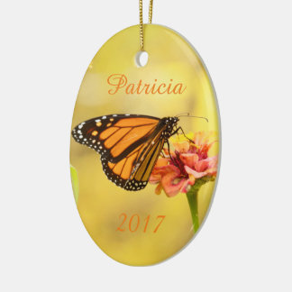 Monarch Butterfly on Zinnia Ceramic Oval Ornament