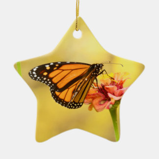 Monarch Butterfly on Zinnia Ceramic Star Ornament