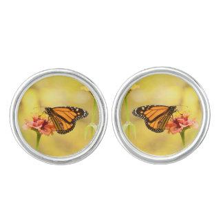 Monarch Butterfly on Zinnia Cuff Links