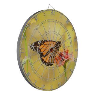 Monarch Butterfly on Zinnia Dartboard