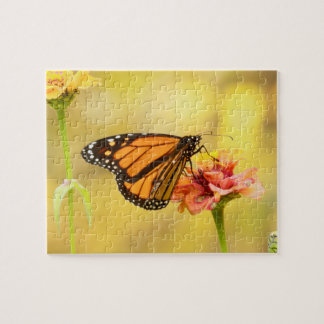 Monarch Butterfly on Zinnia Jigsaw Puzzle