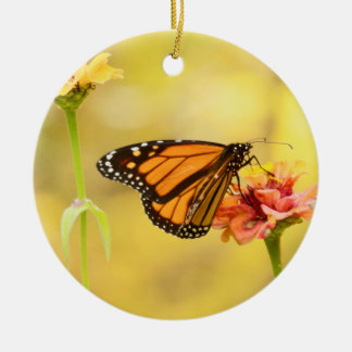 Monarch Butterfly on Zinnia Round Ceramic Ornament