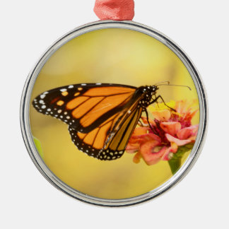 Monarch Butterfly on Zinnia Silver-Colored Round Ornament