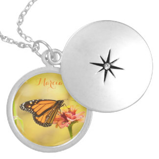 Monarch Butterfly on Zinnia Silver Plated Necklace